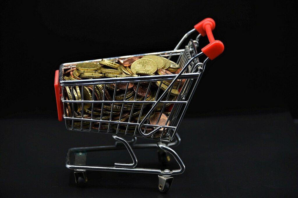 shopping cart, coins, money